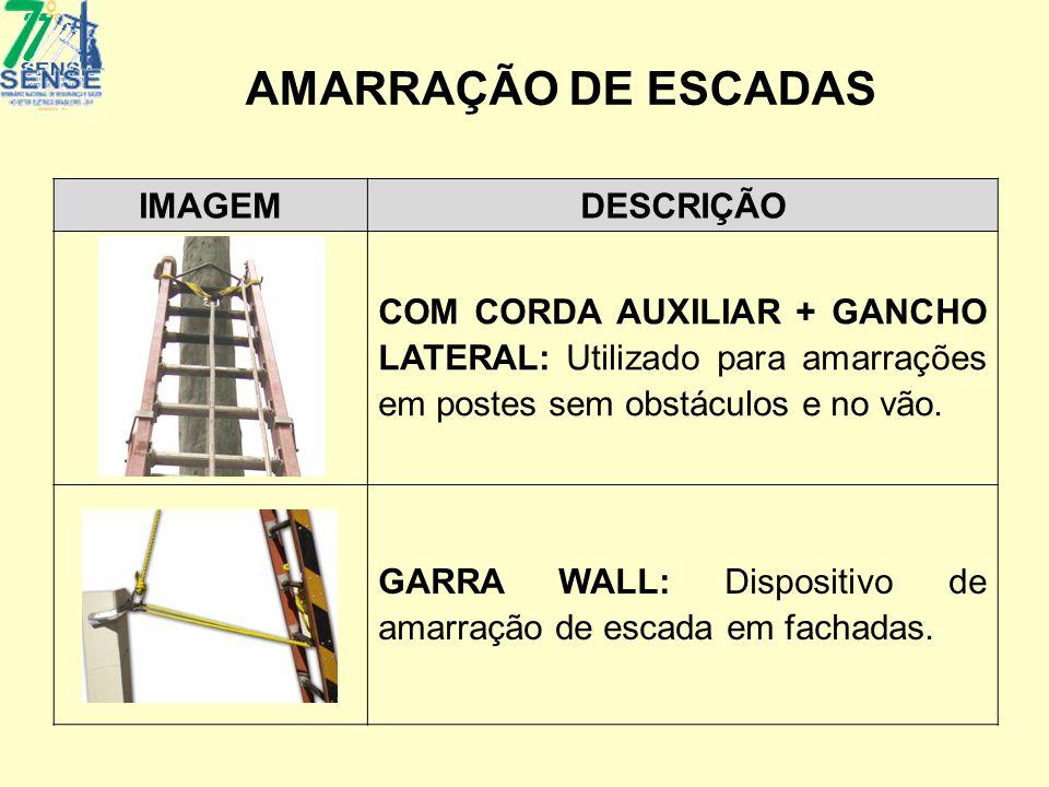 AMARRAÇÃO DE ESCADAS IMAGEMDESCRIÇÃO COM CORDA AUXILIAR + GANCHO LATERAL: Utilizado para amarrações em postes sem obstáculos e no vão. GARRA WALL: Dis