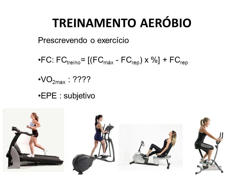 TREINAMENTO AERÓBIO Prescrevendo o exercício FC: FC treino = [(FC máx - FC rep ) x %] + FC rep VO 2max : ???? EPE : subjetivo