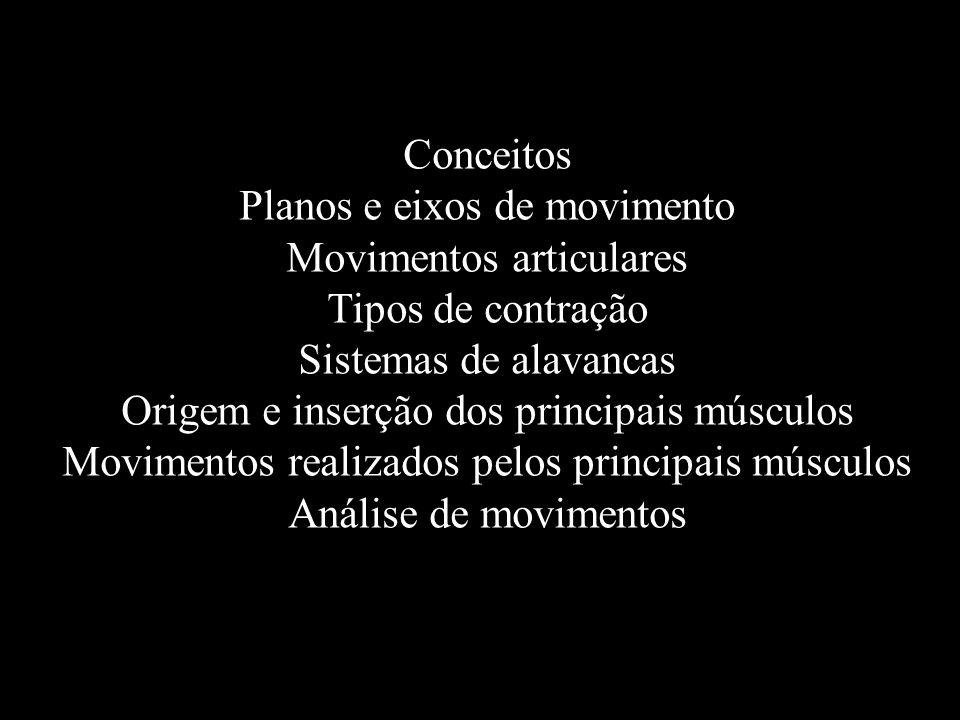 Conceitos Planos e eixos de movimento Movimentos articulares Tipos de contração Sistemas de alavancas Origem e inserção dos principais músculos Movime