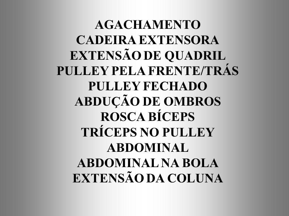 AGACHAMENTO CADEIRA EXTENSORA EXTENSÃO DE QUADRIL PULLEY PELA FRENTE/TRÁS PULLEY FECHADO ABDUÇÃO DE OMBROS ROSCA BÍCEPS TRÍCEPS NO PULLEY ABDOMINAL AB