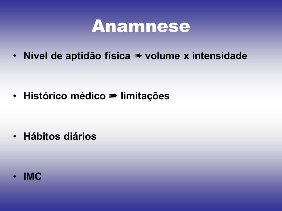 Anamnese Nível de aptidão física ➠ volume x intensidade Histórico médico ➠ limitações Hábitos diários IMC