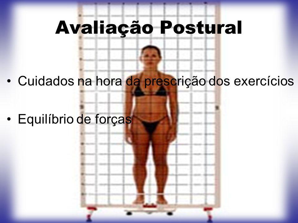 Avaliação Postural Cuidados na hora da prescrição dos exercícios Equilíbrio de forças