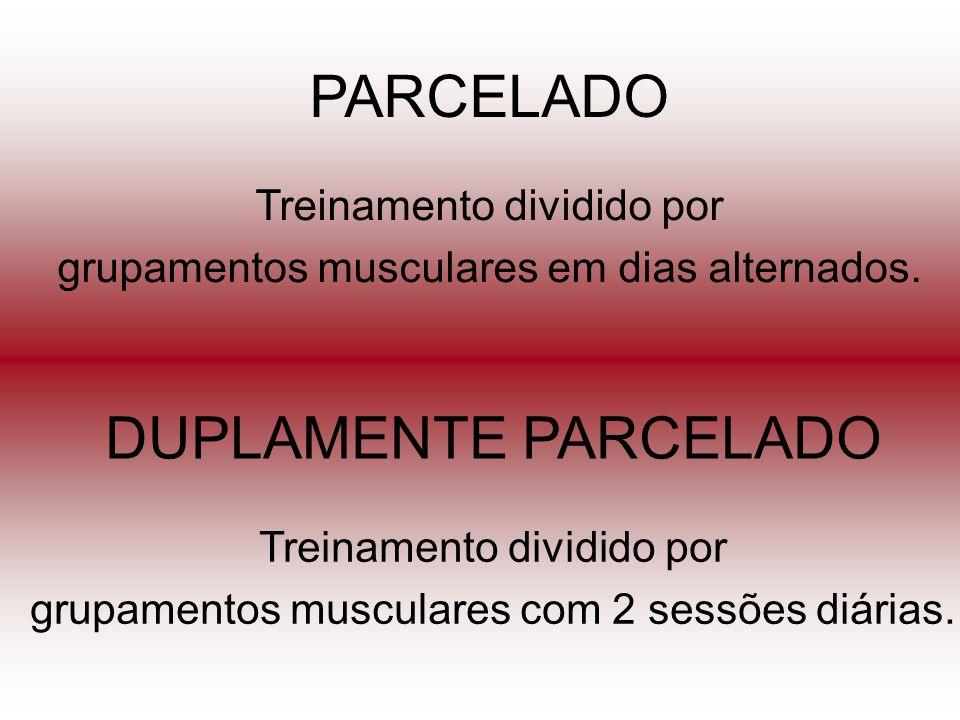 DUPLAMENTE PARCELADO Treinamento dividido por grupamentos musculares com 2 sessões diárias. PARCELADO Treinamento dividido por grupamentos musculares