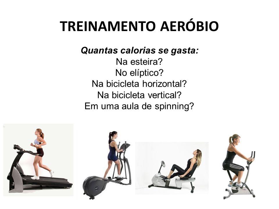 TREINAMENTO AERÓBIO Quantas calorias se gasta: Na esteira? No elíptico? Na bicicleta horizontal? Na bicicleta vertical? Em uma aula de spinning?