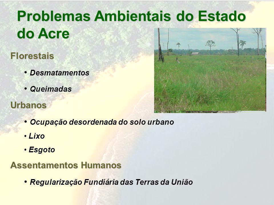 Problemas Ambientais do Estado do Acre Florestais Desmatamentos QueimadasUrbanos Ocupação desordenada do solo urbano Lixo Esgoto Assentamentos Humanos Regularização Fundiária das Terras da União