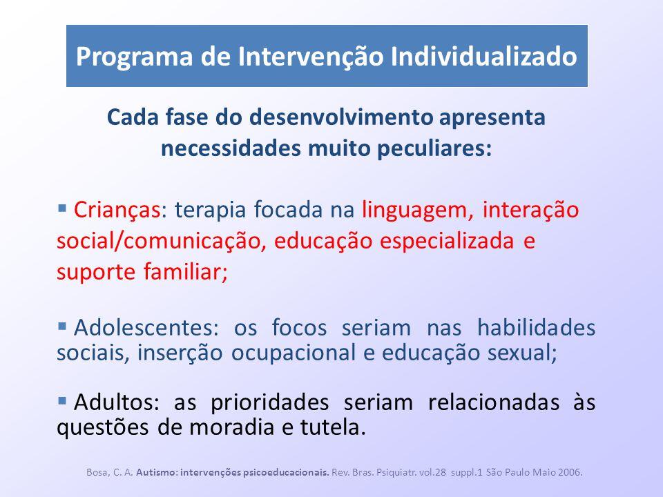 Programa de Intervenção Individualizado Cada fase do desenvolvimento apresenta necessidades muito peculiares:  Crianças: terapia focada na linguagem,