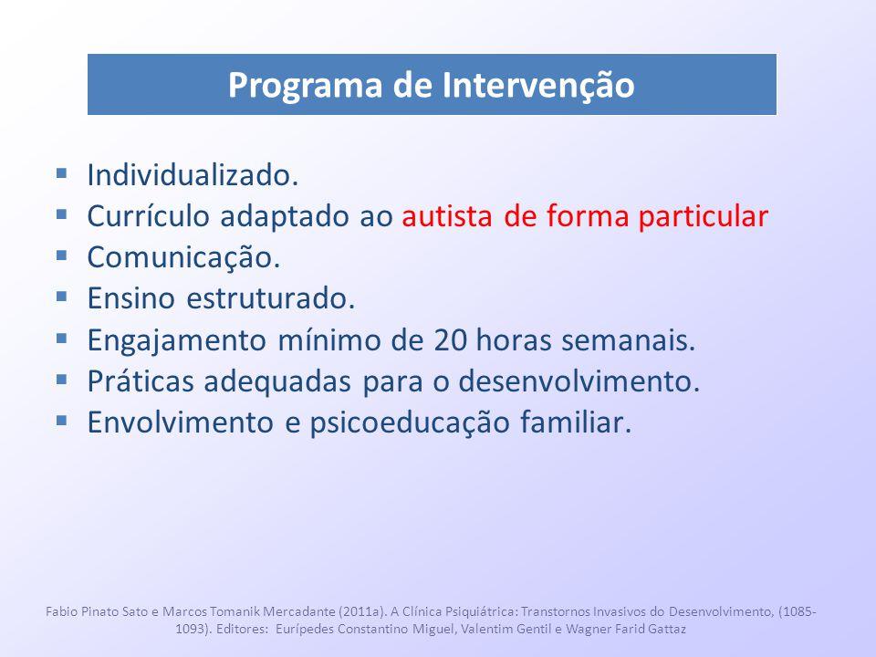  Individualizado.  Currículo adaptado ao autista de forma particular  Comunicação.  Ensino estruturado.  Engajamento mínimo de 20 horas semanais.