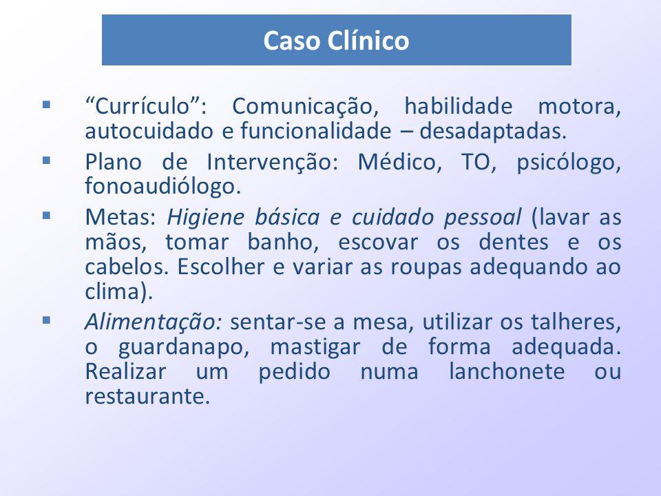 """ """"Currículo"""": Comunicação, habilidade motora, autocuidado e funcionalidade – desadaptadas.  Plano de Intervenção: Médico, TO, psicólogo, fonoaudiólo"""