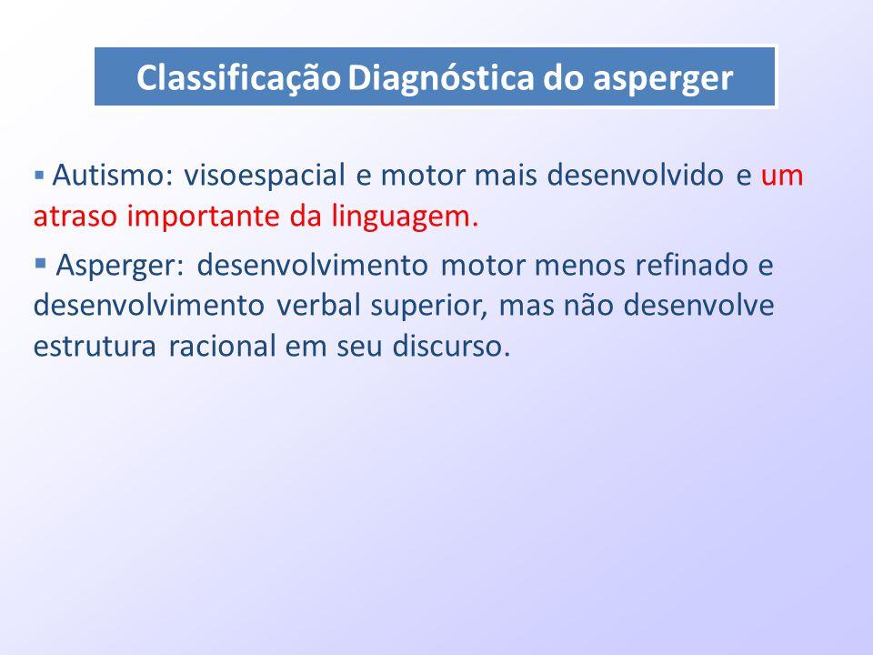  Autismo: visoespacial e motor mais desenvolvido e um atraso importante da linguagem.  Asperger: desenvolvimento motor menos refinado e desenvolvime