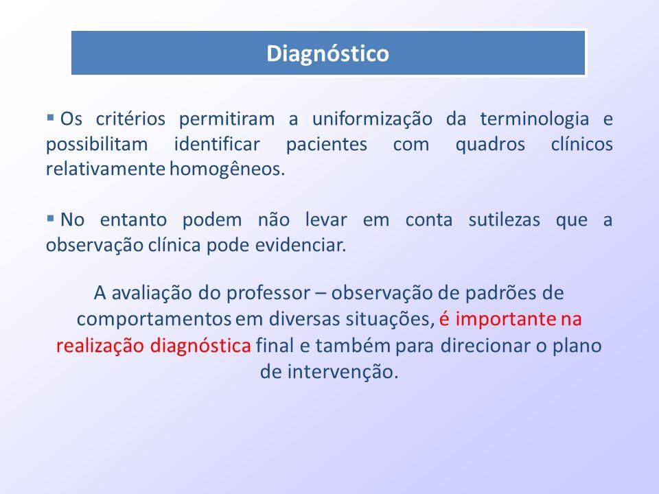 Diagnóstico  Os critérios permitiram a uniformização da terminologia e possibilitam identificar pacientes com quadros clínicos relativamente homogêne