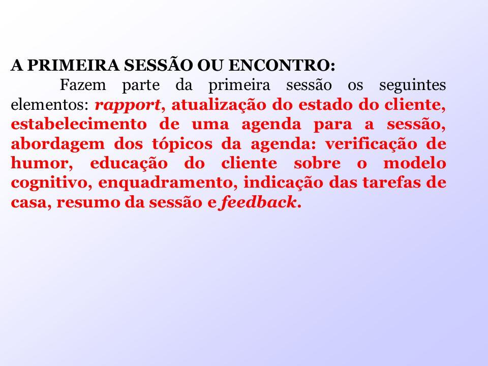 A PRIMEIRA SESSÃO OU ENCONTRO: Fazem parte da primeira sessão os seguintes elementos: rapport, atualização do estado do cliente, estabelecimento de um