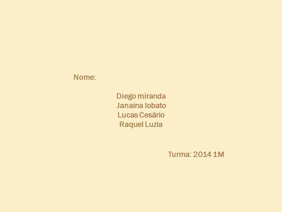 Nome: Diego miranda Janaina lobato Lucas Cesário Raquel Luzia Turma: 2014 1M