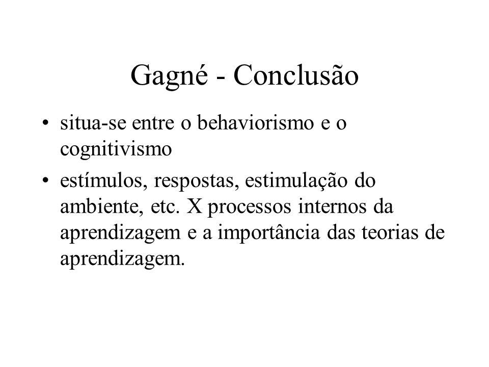 Gagné - Conclusão situa-se entre o behaviorismo e o cognitivismo estímulos, respostas, estimulação do ambiente, etc. X processos internos da aprendiza