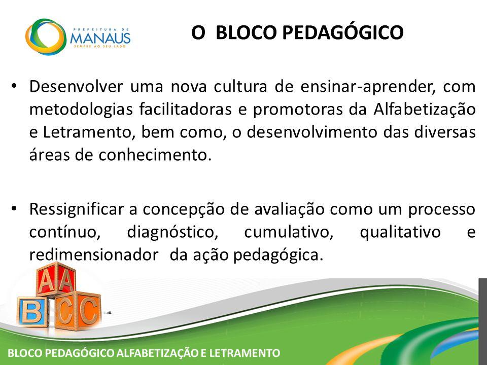 O BLOCO PEDAGÓGICO Desenvolver uma nova cultura de ensinar-aprender, com metodologias facilitadoras e promotoras da Alfabetização e Letramento, bem co