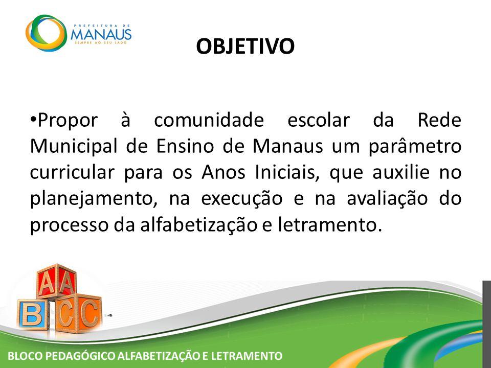 Propor à comunidade escolar da Rede Municipal de Ensino de Manaus um parâmetro curricular para os Anos Iniciais, que auxilie no planejamento, na execu