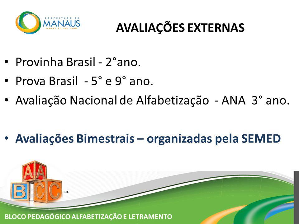 AVALIAÇÕES EXTERNAS Provinha Brasil - 2°ano. Prova Brasil - 5° e 9° ano. Avaliação Nacional de Alfabetização - ANA 3° ano. Avaliações Bimestrais – org