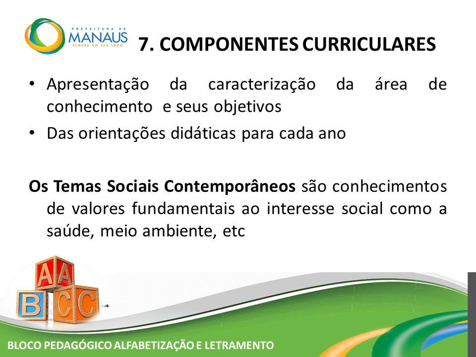 7. COMPONENTES CURRICULARES Apresentação da caracterização da área de conhecimento e seus objetivos Das orientações didáticas para cada ano Os Temas S