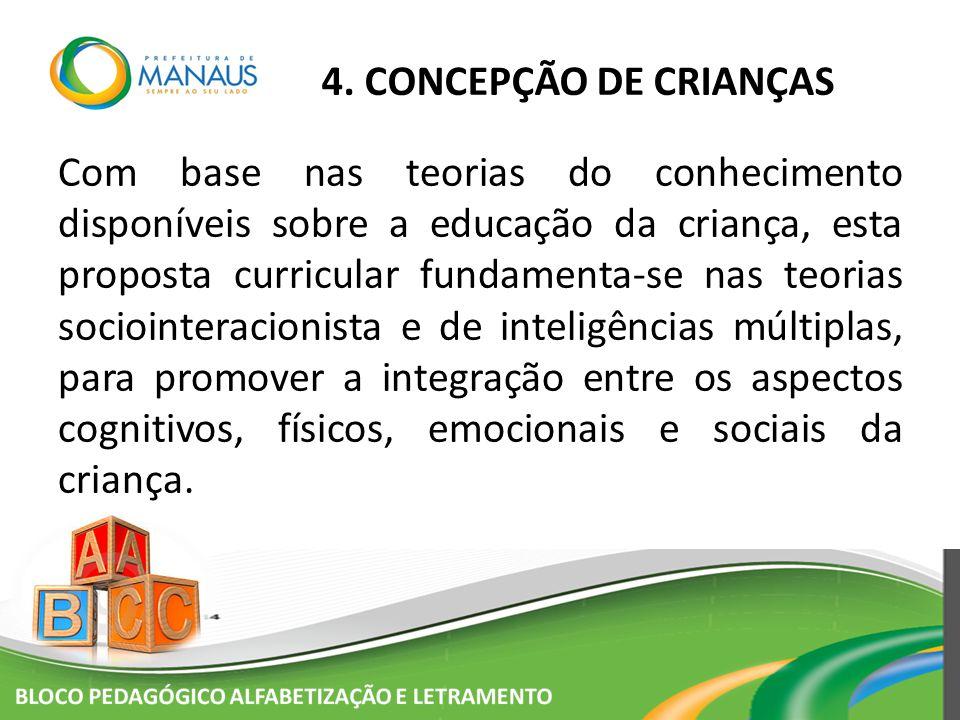 4. CONCEPÇÃO DE CRIANÇAS Com base nas teorias do conhecimento disponíveis sobre a educação da criança, esta proposta curricular fundamenta-se nas teor