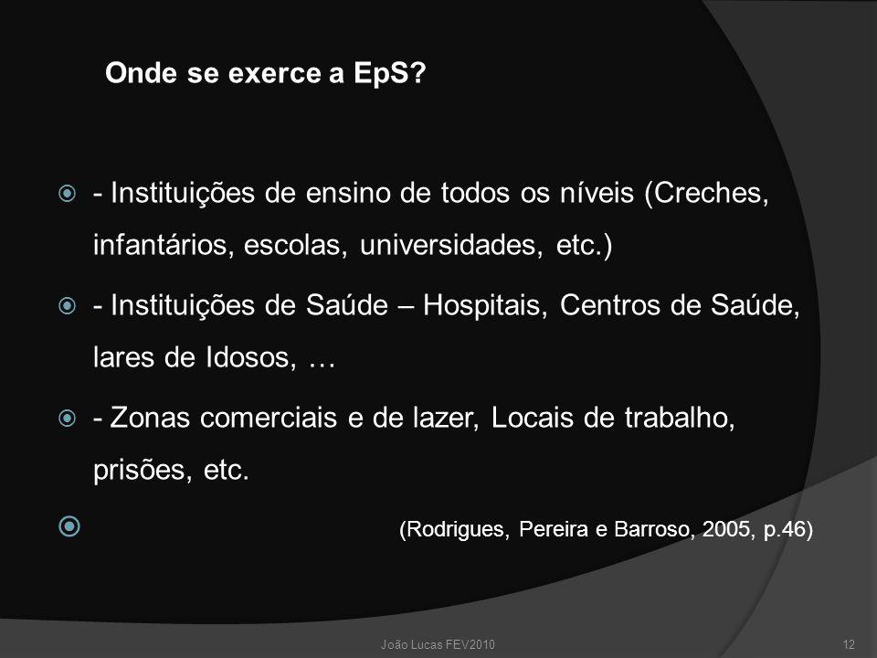 Onde se exerce a EpS?  - Instituições de ensino de todos os níveis (Creches, infantários, escolas, universidades, etc.)  - Instituições de Saúde – H