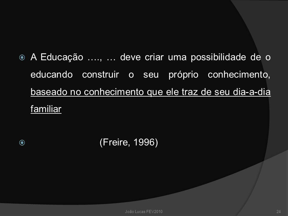  A Educação …., … deve criar uma possibilidade de o educando construir o seu próprio conhecimento, baseado no conhecimento que ele traz de seu dia-a-dia familiar  (Freire, 1996) 24João Lucas FEV2010