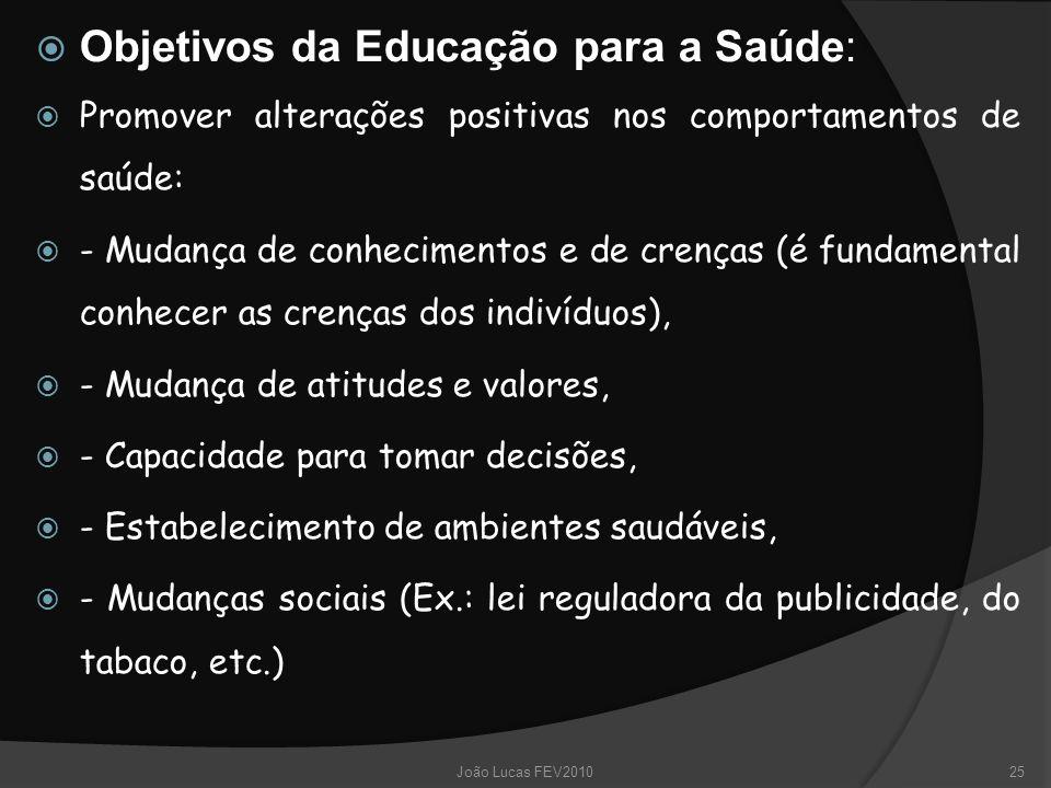  Objetivos da Educação para a Saúde:  Promover alterações positivas nos comportamentos de saúde:  - Mudança de conhecimentos e de crenças (é fundam