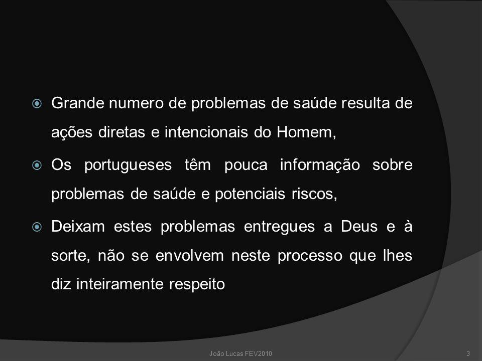  Grande numero de problemas de saúde resulta de ações diretas e intencionais do Homem,  Os portugueses têm pouca informação sobre problemas de saúde e potenciais riscos,  Deixam estes problemas entregues a Deus e à sorte, não se envolvem neste processo que lhes diz inteiramente respeito 3João Lucas FEV2010