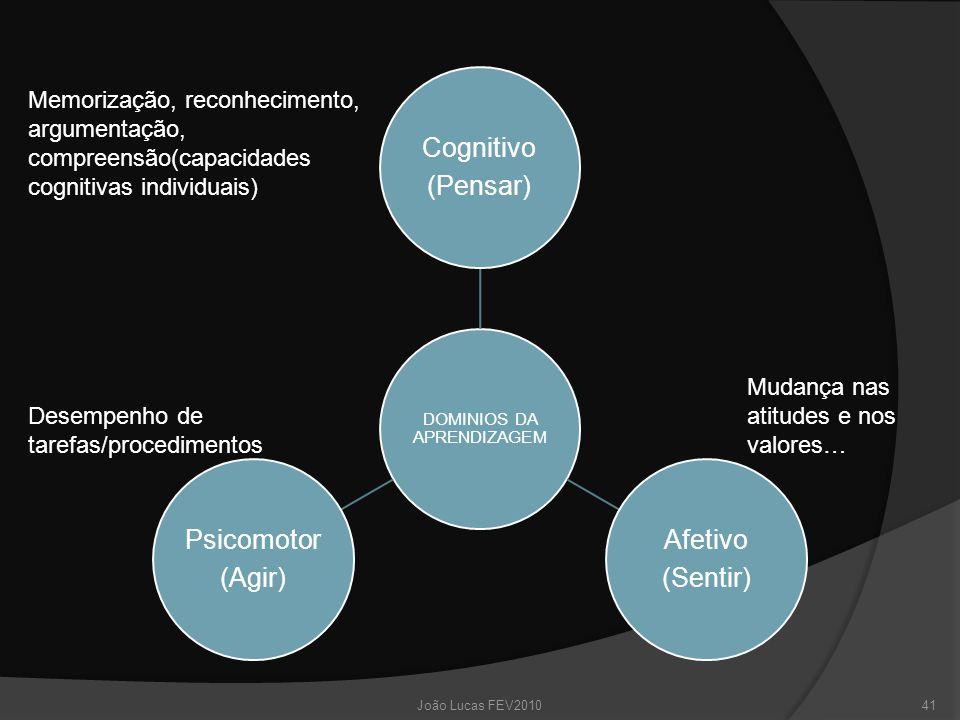 DOMINIOS DA APRENDIZAGEM Cognitivo (Pensar) Afetivo (Sentir) Psicomotor (Agir) Memorização, reconhecimento, argumentação, compreensão(capacidades cognitivas individuais) Mudança nas atitudes e nos valores… Desempenho de tarefas/procedimentos 41João Lucas FEV2010
