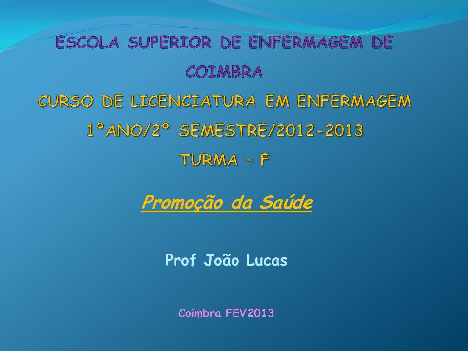 Promoção da Saúde Prof João Lucas Coimbra FEV2013