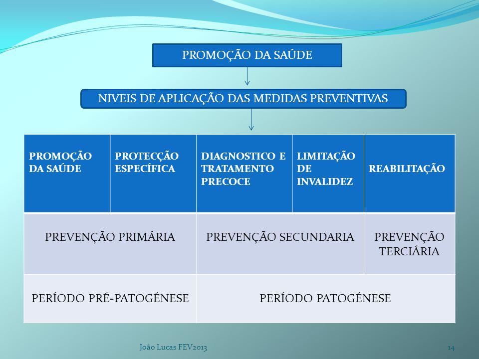 PROMOÇÃO DA SAÚDE PROTECÇÃO ESPECÍFICA DIAGNOSTICO E TRATAMENTO PRECOCE LIMITAÇÃO DE INVALIDEZ REABILITAÇÃO PREVENÇÃO PRIMÁRIAPREVENÇÃO SECUNDARIAPREVENÇÃO TERCIÁRIA PERÍODO PRÉ-PATOGÉNESEPERÍODO PATOGÉNESE João Lucas FEV2013 PROMOÇÃO DA SAÚDE NIVEIS DE APLICAÇÃO DAS MEDIDAS PREVENTIVAS 14