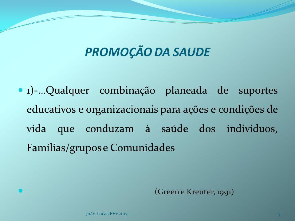 PROMOÇÃO DA SAUDE 1)-…Qualquer combinação planeada de suportes educativos e organizacionais para ações e condições de vida que conduzam à saúde dos indivíduos, Famílias/grupos e Comunidades (Green e Kreuter, 1991) João Lucas FEV201315