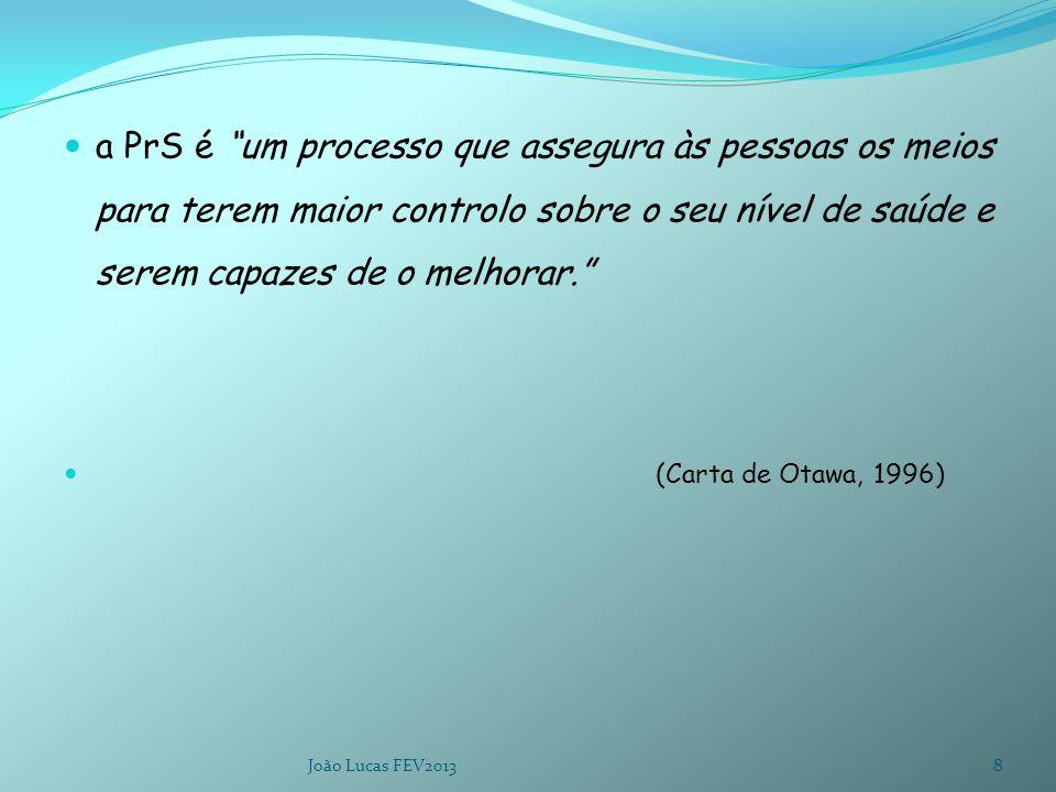 a PrS é um processo que assegura às pessoas os meios para terem maior controlo sobre o seu nível de saúde e serem capazes de o melhorar. (Carta de Otawa, 1996) João Lucas FEV20138