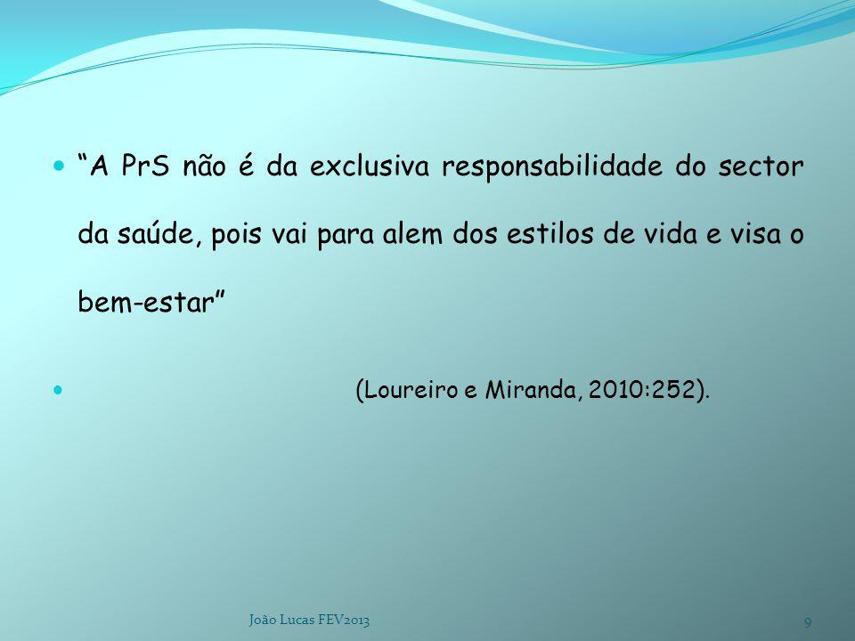 """""""A PrS não é da exclusiva responsabilidade do sector da saúde, pois vai para alem dos estilos de vida e visa o bem-estar"""" (Loureiro e Miranda, 2010:25"""