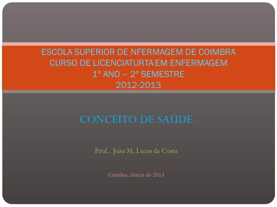 CONCEITO DE SAÚDE Prof..João M.