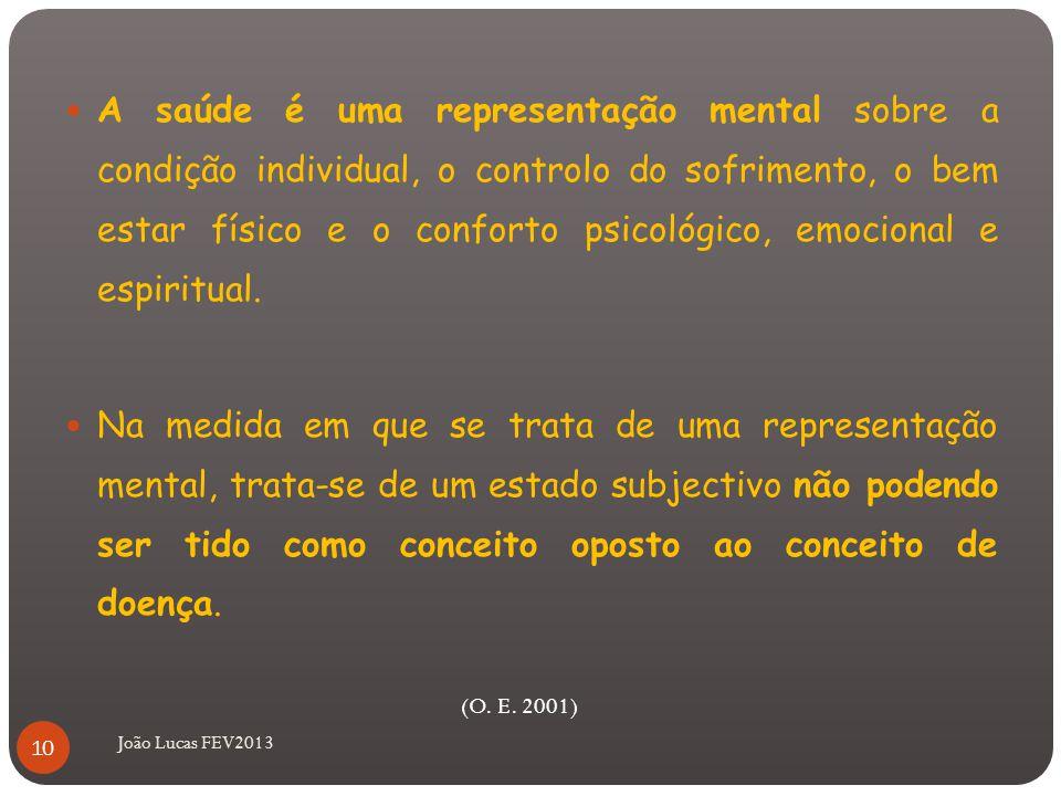 João Lucas FEV2013 A saúde é uma representação mental sobre a condição individual, o controlo do sofrimento, o bem estar físico e o conforto psicológico, emocional e espiritual.