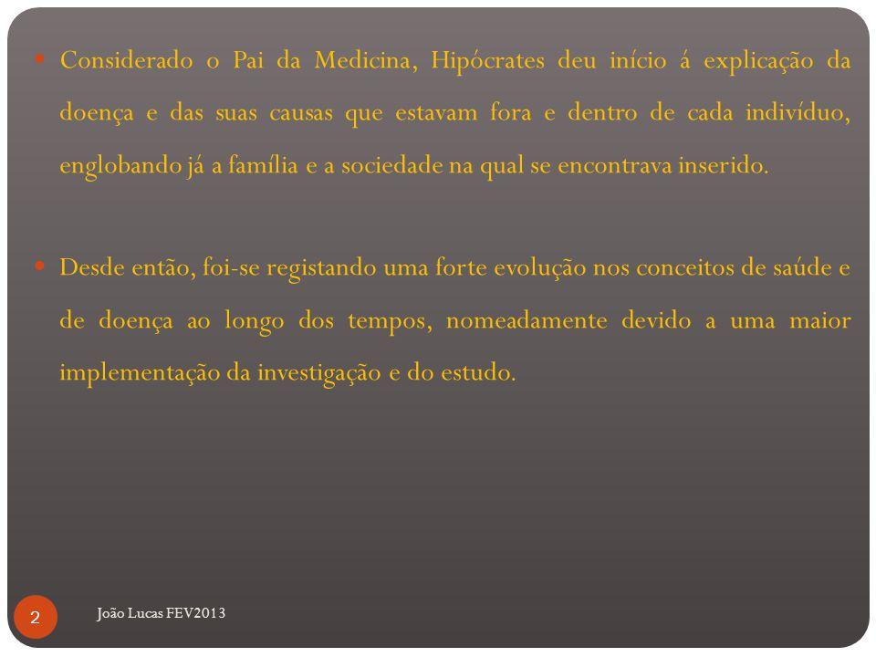João Lucas FEV2013 Considerado o Pai da Medicina, Hipócrates deu início á explicação da doença e das suas causas que estavam fora e dentro de cada indivíduo, englobando já a família e a sociedade na qual se encontrava inserido.