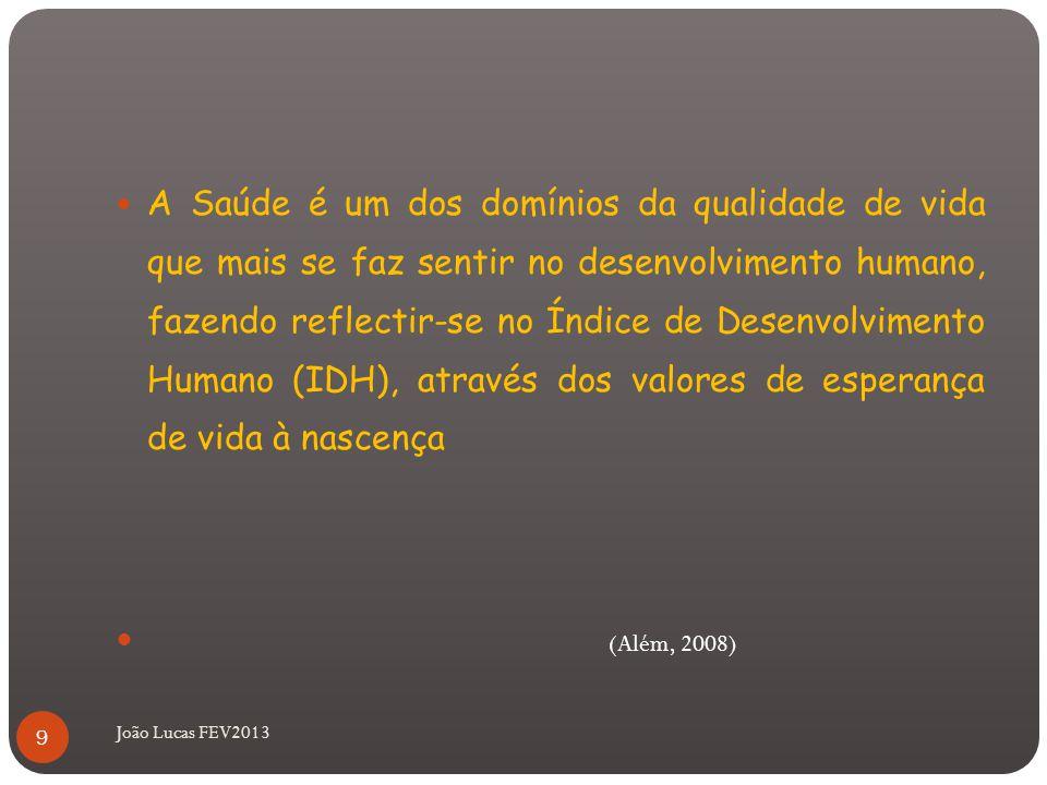 A Saúde é um dos domínios da qualidade de vida que mais se faz sentir no desenvolvimento humano, fazendo reflectir-se no Índice de Desenvolvimento Humano (IDH), através dos valores de esperança de vida à nascença (Além, 2008) 9