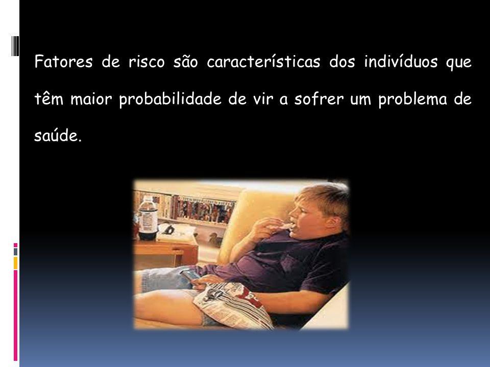 Fatores de risco são características dos indivíduos que têm maior probabilidade de vir a sofrer um problema de saúde.