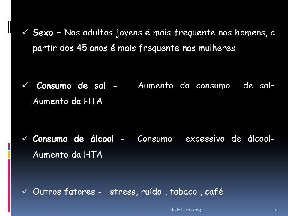 Sexo – Nos adultos jovens é mais frequente nos homens, a partir dos 45 anos é mais frequente nas mulheres Consumo de sal - Aumento do consumo de sal- Aumento da HTA Consumo de álcool - Consumo excessivo de álcool- Aumento da HTA Outros fatores - stress, ruído, tabaco, café 12 João Lucas 2013