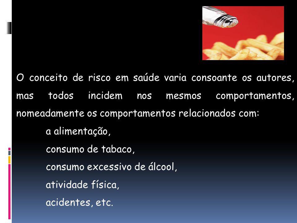  Riscos em saúde:  – Abordagem da saúde na perspectiva do que possa ocorrer e não do que já ocorreu.