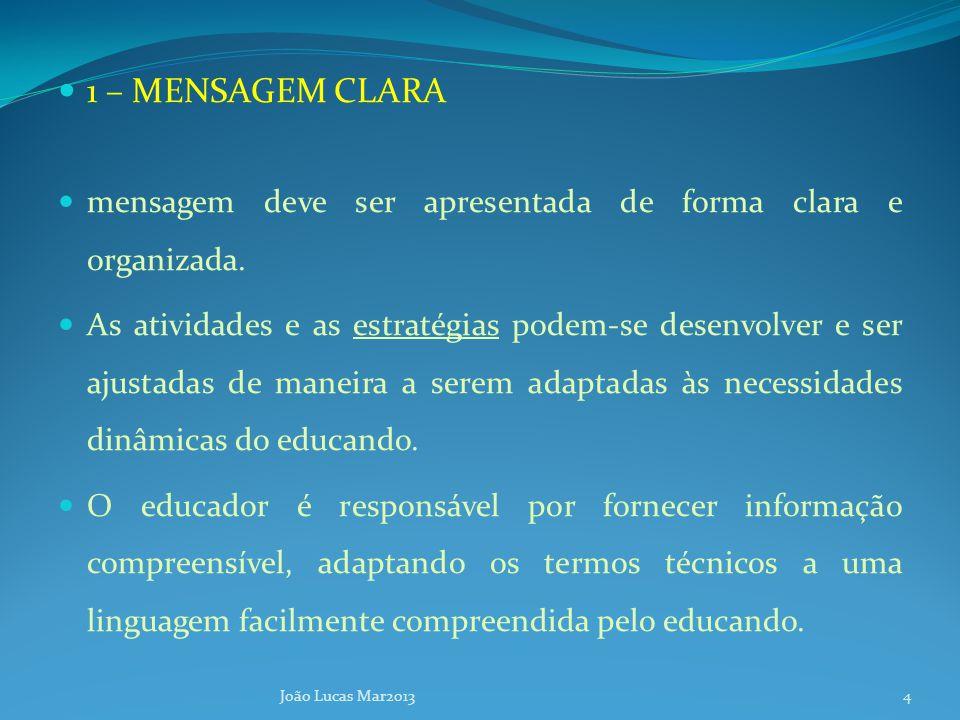 1 – MENSAGEM CLARA mensagem deve ser apresentada de forma clara e organizada.