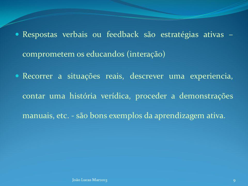 Respostas verbais ou feedback são estratégias ativas – comprometem os educandos (interação) Recorrer a situações reais, descrever uma experiencia, contar uma história verídica, proceder a demonstrações manuais, etc.