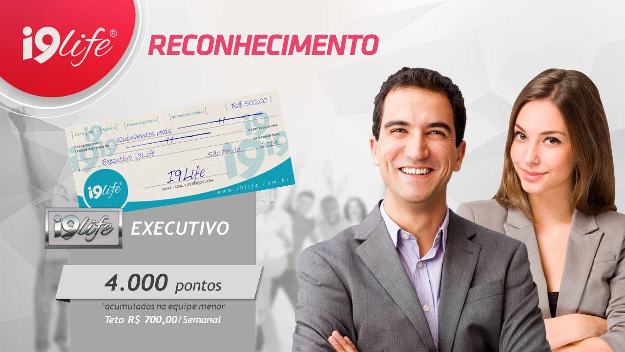 EXECUTIVO *acumulados na equipe menor Teto R$ 700,00/Semanal  4.000 pontos