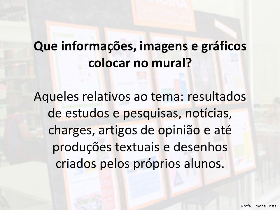 Que informações, imagens e gráficos colocar no mural.