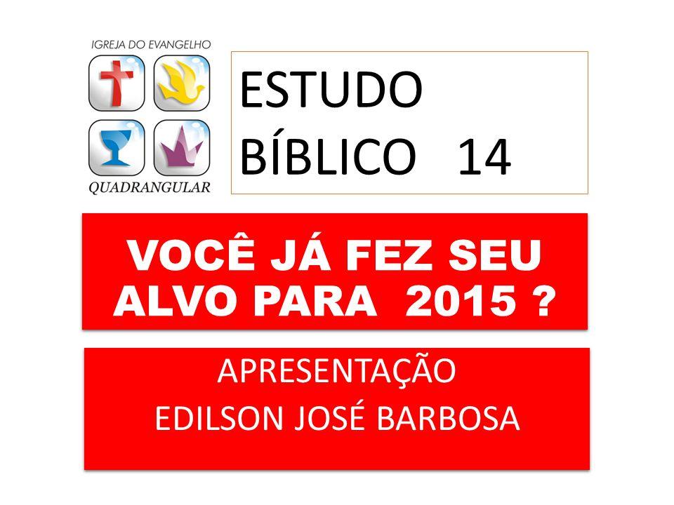 VOCÊ JÁ FEZ SEU ALVO PARA 2015 ? APRESENTAÇÃO EDILSON JOSÉ BARBOSA APRESENTAÇÃO EDILSON JOSÉ BARBOSA ESTUDO BÍBLICO 14