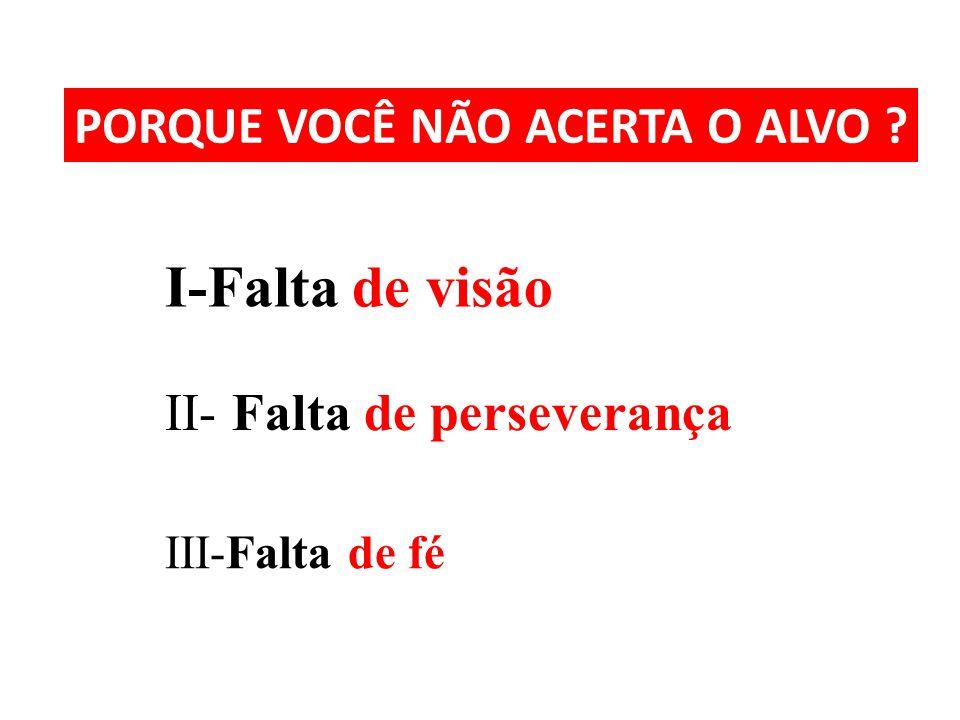 PORQUE VOCÊ NÃO ACERTA O ALVO ? I-Falta de visão II- Falta de perseverança III-Falta de fé