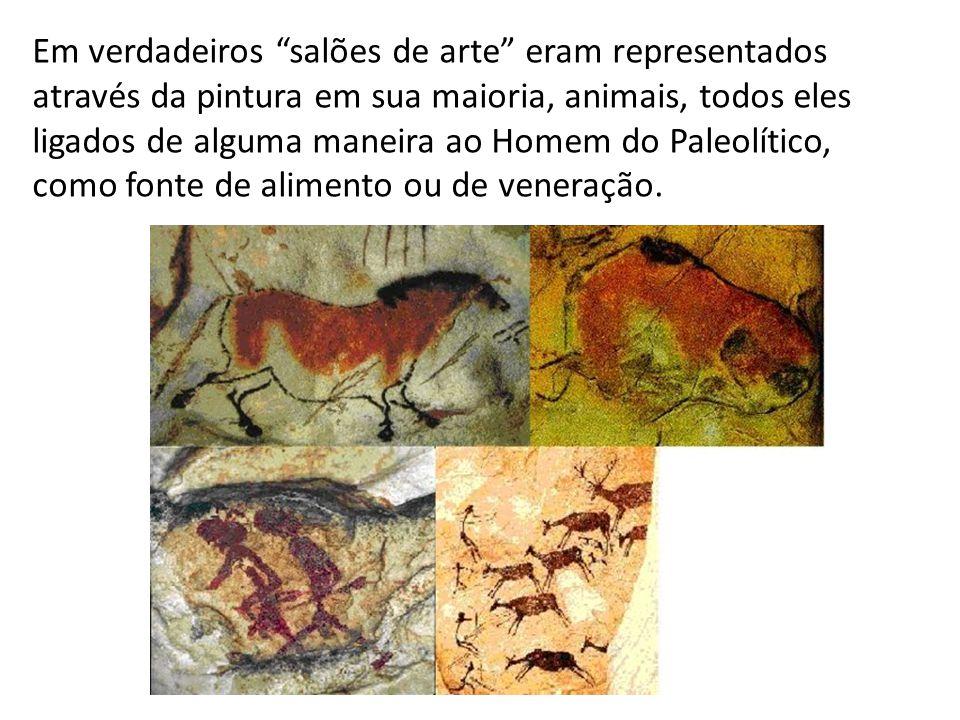 """Em verdadeiros """"salões de arte"""" eram representados através da pintura em sua maioria, animais, todos eles ligados de alguma maneira ao Homem do Paleol"""