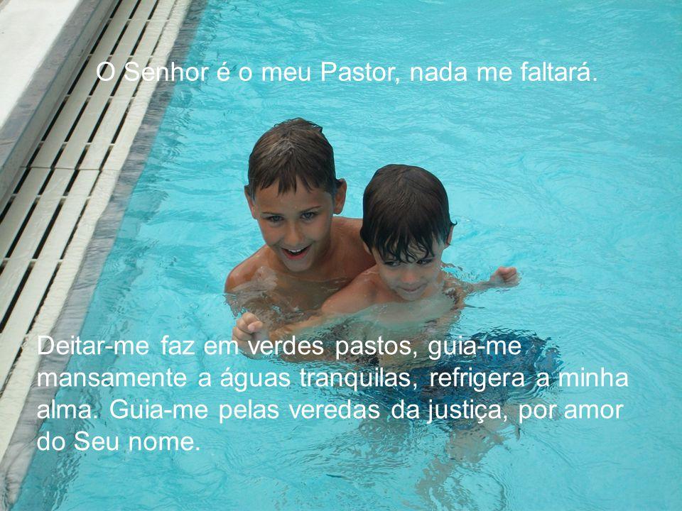 O Senhor é o meu Pastor, nada me faltará. Deitar-me faz em verdes pastos, guia-me mansamente a águas tranquilas, refrigera a minha alma. Guia-me pelas
