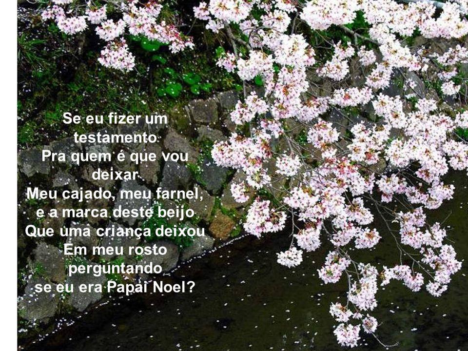 Pra quem eu vou deixar, Se fizer um testamento, Os bancos dos meus jardins, Onde durmo e onde acordo Entre rosas e jasmins? Pra quem é que vou deixar,