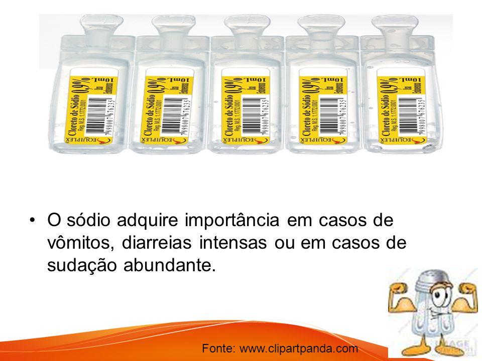 O sódio adquire importância em casos de vômitos, diarreias intensas ou em casos de sudação abundante. Fonte: www.clipartpanda.com