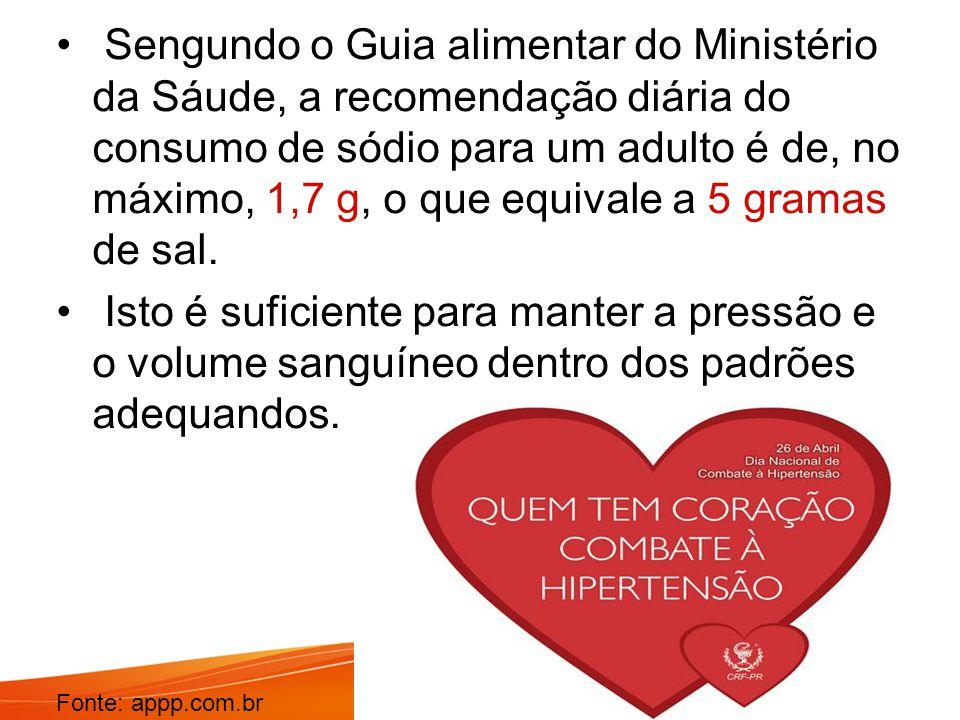 Sengundo o Guia alimentar do Ministério da Sáude, a recomendação diária do consumo de sódio para um adulto é de, no máximo, 1,7 g, o que equivale a 5